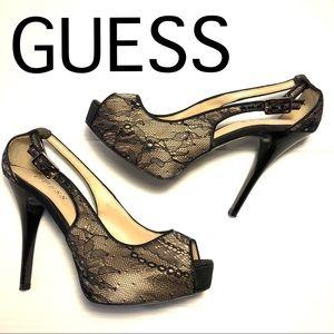 GUESS Hondola Lace platform heels peeptoe  black 6